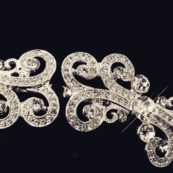 """The Diane"" Silver Clear Filigree Headband"