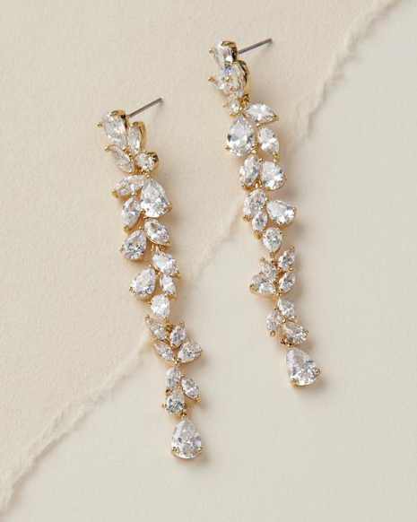 """The Brittany"" Dangling 'Diamond' CZ Earrings - Sweet Heart Details"