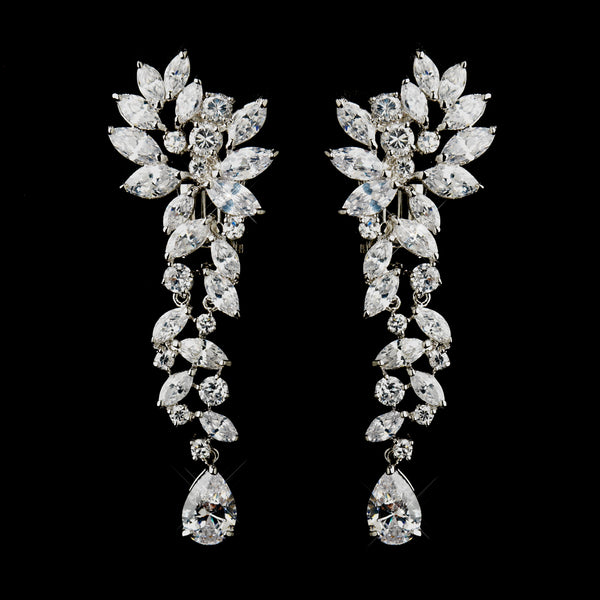 """The Amanda"" Silver Tear Drop Marquise CZ Crystal Earrings - Sweet Heart Details"