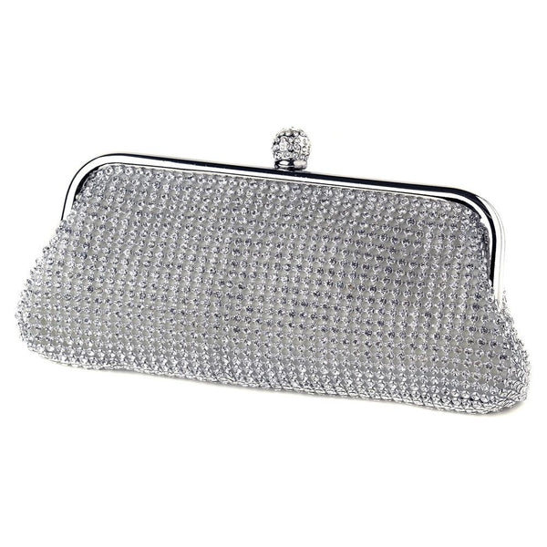 """The Tierney"" Silver Clear Crystal Evening Bag"