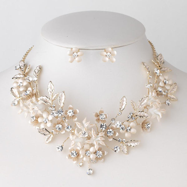 """The Rosemary"" Floral Vintage Necklace & Earrings-Jewelry Sets-Wedding Factory-N-10003-E-10003-LG-CL-Sweet Heart Details"
