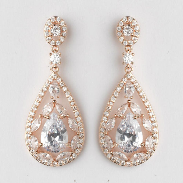 """The Megan"" Rose Gold Teardrop CZ Crystal Chandelier Earrings-Earrings-Wedding Factory-E-7769-RG-CL-Sweet Heart Details"