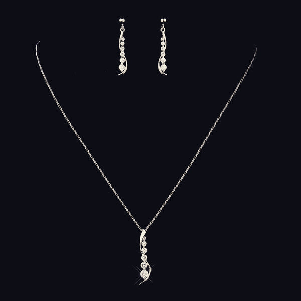 """The Elina"" Solid 925 Sterling Silver CZ Drop Pendant Set - Sweet Heart Details"