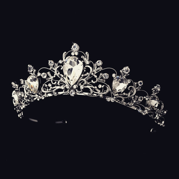 """The Elizabeth"" Antique Rhodium Tiara-Tiaras & Headbands-Wedding Factory-HP-8329-RD-CL-Sweet Heart Details"