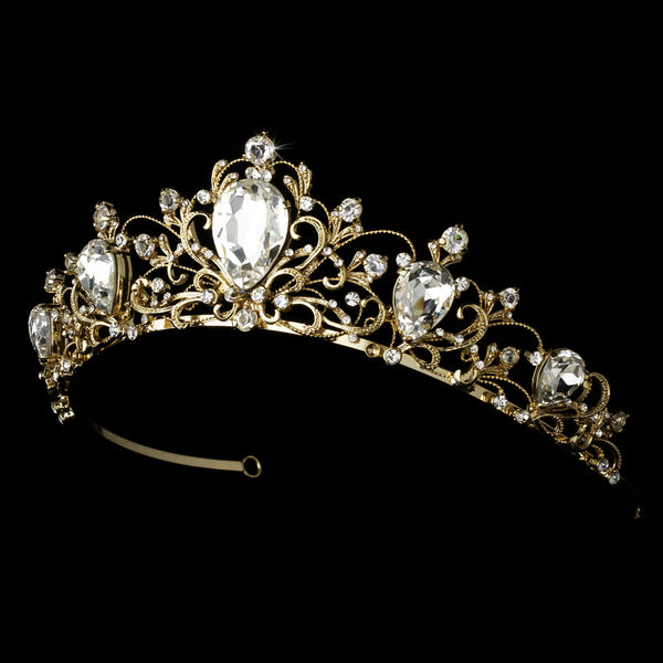 """The Elizabeth"" Antique Rhodium Tiara-Tiaras & Headbands-Wedding Factory-HP-8329-G-CL-Sweet Heart Details"