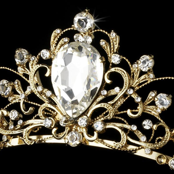 """The Elizabeth"" Antique Rhodium Tiara-Tiaras & Headbands-Wedding Factory-Sweet Heart Details"