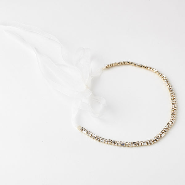 """The Emmy"" Modern Rhinestone Bridal Headband"