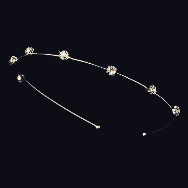 """The Eugenie"" Silver & Pink/Clear Tiara Headband"