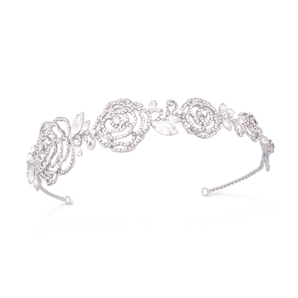 """The Evelyn"" Antique Rhinestone Roses Headband-Tiaras & Headbands-Wedding Factory-HP-865-RD-CL-Sweet Heart Details"