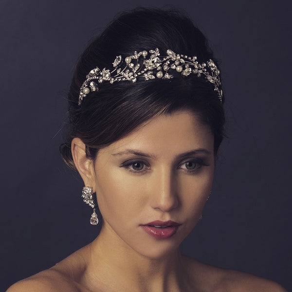 """The Fleur"" Crystal & White Pearl Floral Headpiece-Tiaras & Headbands-Wedding Factory-HP-9970-AS-DW-Sweet Heart Details"