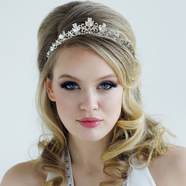 """The Lucy"" Floral Crystal Tiara-1793 Tiara 14-Sweet Heart Details"
