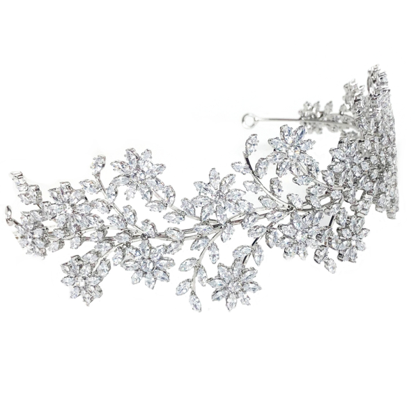 """The Lillie"" Floral Silver Crystal Headband-AHB26 7002-Sweet Heart Details"