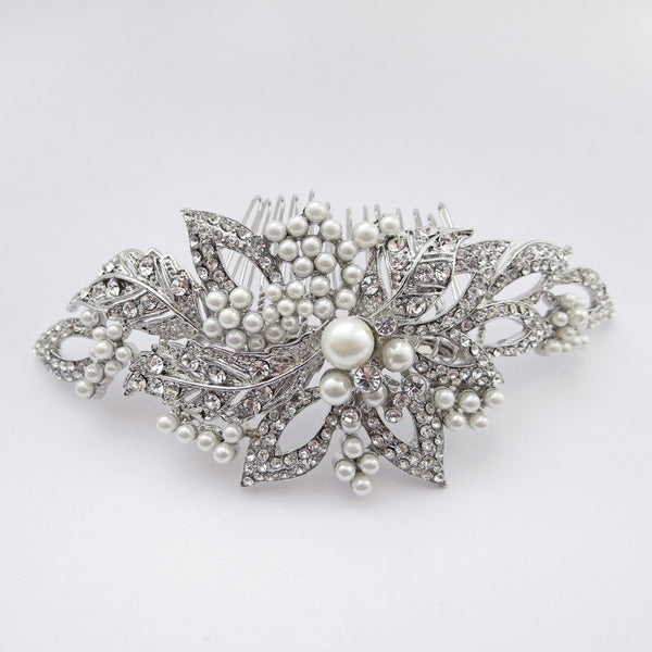"""The Geri"" Antique Silver Diamond White Pearl Comb - Sweet Heart Details"