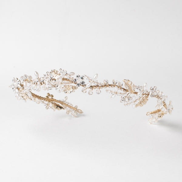 """The Gia"" Light Gold Beaded Vine Bridal Headband-Tiaras & Headbands-Wedding Factory-HP-10009-LG-IV-Sweet Heart Details"
