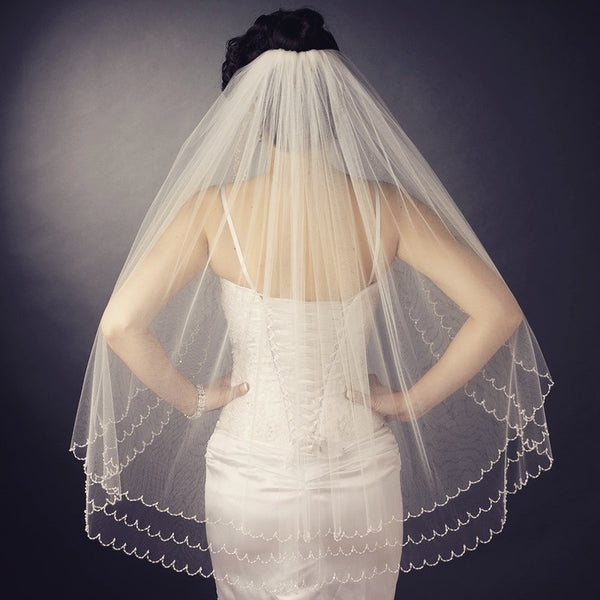 """The Gianna"" Double Layer Beaded Scalloped Veil - Sweet Heart Details"