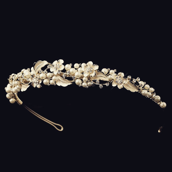 """The Giavanna"" Gold Pearl & Rhinestone Headband - Sweet Heart Details"