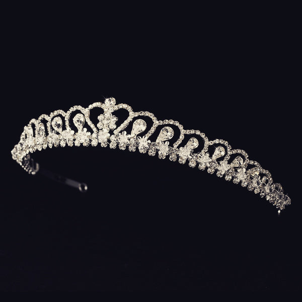 """The Grace"" Royal Rhinestone Bridal Tiara - Sweet Heart Details"