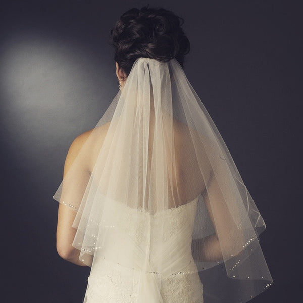 """The Gretel"" Double Layer Ivory Veil with Scattered Rhinestones - Sweet Heart Details"