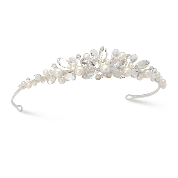 """The Gwyneth"" Crystal Headpiece with Natural Pearls - Sweet Heart Details"