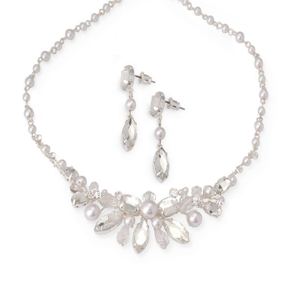 """The Gwyneth"" Crystal & Natural Pearls Jewelry Set (Silver/Gold)"