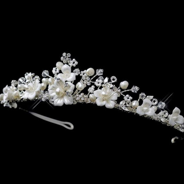 """The Tiffany"" Swarovski & Pearl Floral Tiara-Tiaras & Headbands-Wedding Factory-HP-9015-S-FW-Sweet Heart Details"