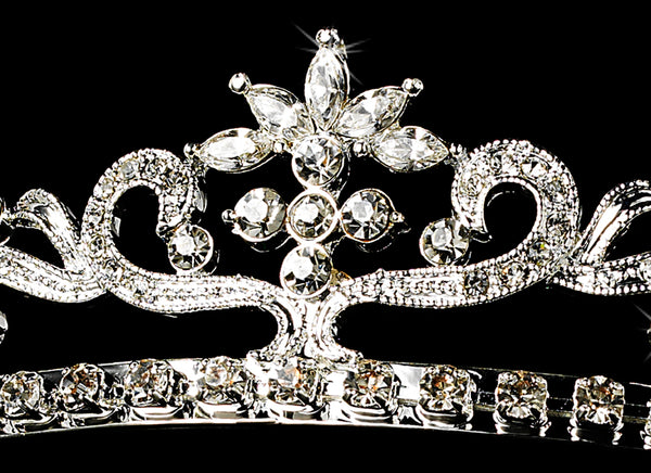 """The Nancy"" Bright Silver Star Tiara - Sweet Heart Details"