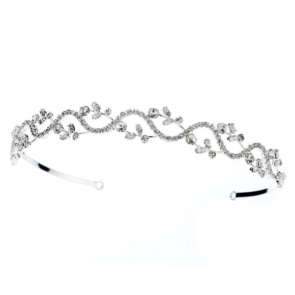 """The Kiah"" Crystal Bridal Headband (Gold/Silver) - Sweet Heart Details"