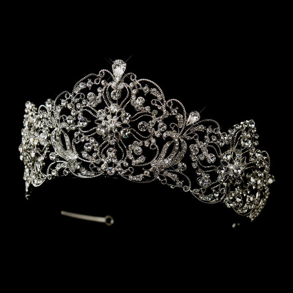 "Regal 2 1/2"" Rhinestone Tiara-Tiaras & Headbands-Sweet Heart Details"