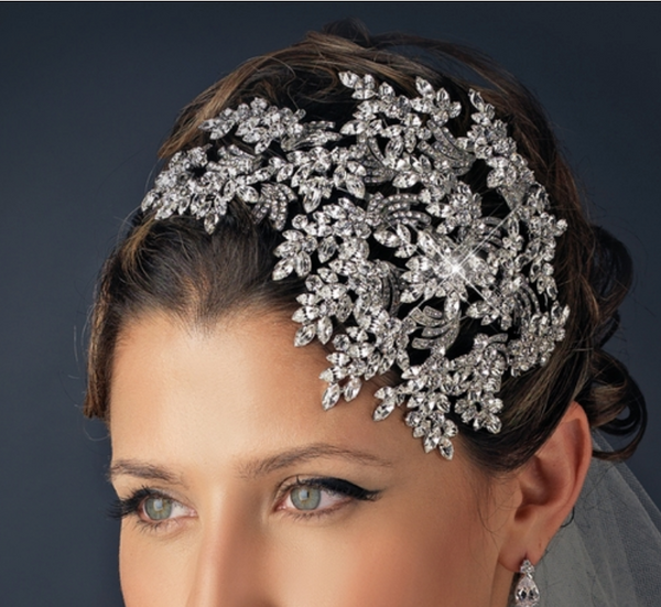 """The Kathleen"" Marquise Rhinestone Wired Deco Side Accented Headband-Tiaras & Headbands-Wedding Factory-Sweet Heart Details"