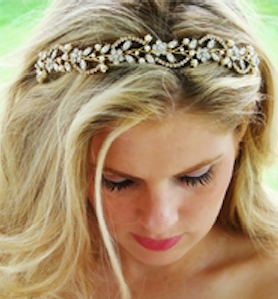 """The Keisha"" Swarovski & Pearl Headband - Sweet Heart Details"