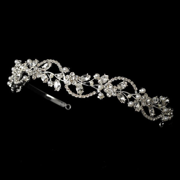 """The Keisha"" Swarovski & Pearl Headband-Tiaras & Headbands-Wedding Factory-Sweet Heart Details"