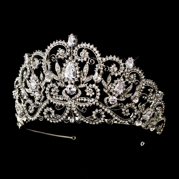 """The Veronica"" Royal Princess Rhinestone & Center CZ Crystal Tiara - SilverOOS - Sweet Heart Details"