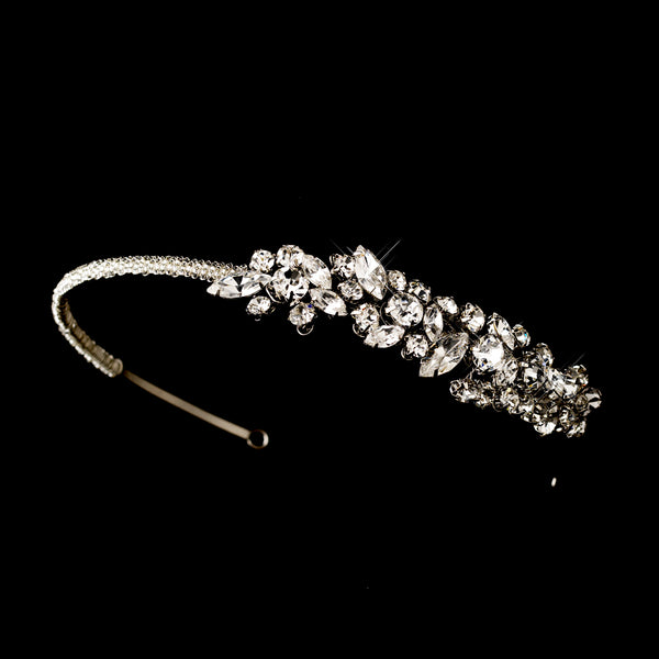 """The Arielle"" Vintage Crystal Accent Side Headband-Tiaras & Headbands-Wedding Factory-HP-507-AS-CL-Sweet Heart Details"