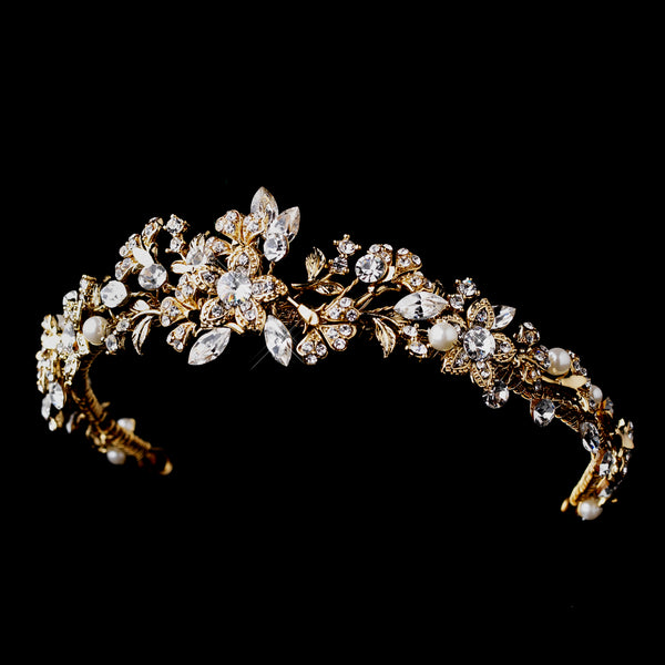 """The Jessica"" Gold Pearl & Crystal Tiara - Sweet Heart Details"
