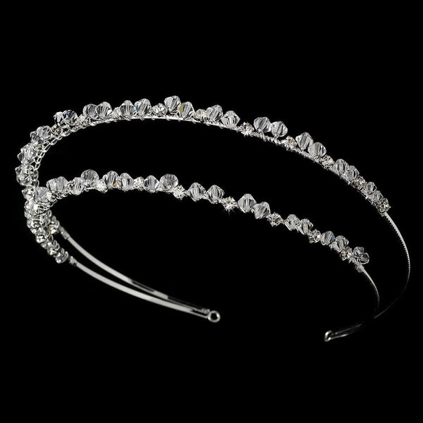 """The Nora"" Modern Double Row Swarovski Headband - Sweet Heart Details"