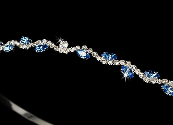 """The Jasmine"" Crystal and Marquise Tiara-Tiaras & Headbands-HP-6008-S-LT-BLUE-Sweet Heart Details"