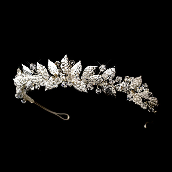 """The Harlow"" Silver Vintage Floral Tiara-HP-604-S-CL-Sweet Heart Details"