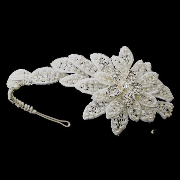 """The Therese"" Floral Applique & Pearl Side Headband-Tiaras & Headbands-Wedding Factory-HP-655-S-DW-Sweet Heart Details"