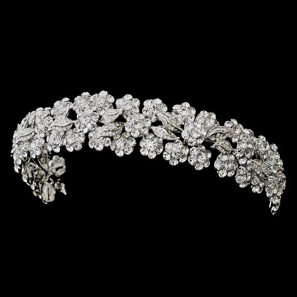 """The Doreen"" Silver Floral Rhinestone Headband-Tiaras & Headbands-Wedding Factory-HP-703-RD-CL-Sweet Heart Details"