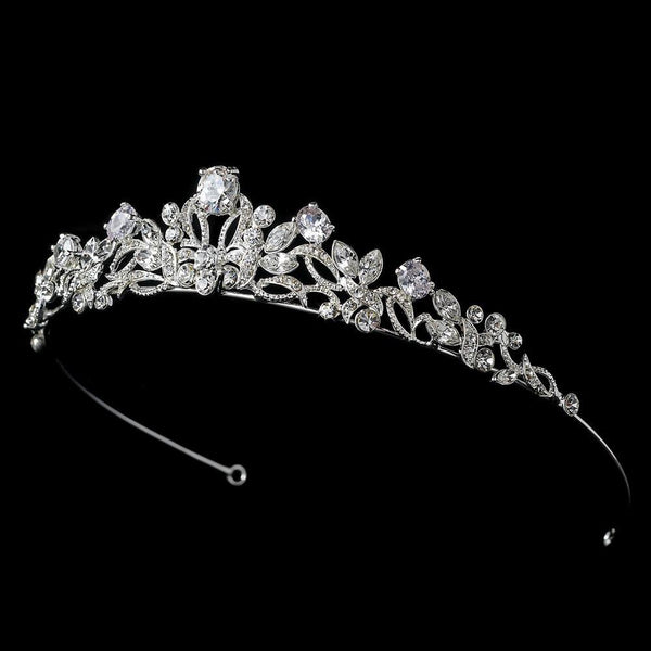 """The Olivia"" Rhinestone Solitaire Bridal Tiara-Tiaras & Headbands-Wedding Factory-HP-8114-S-CL-Sweet Heart Details"