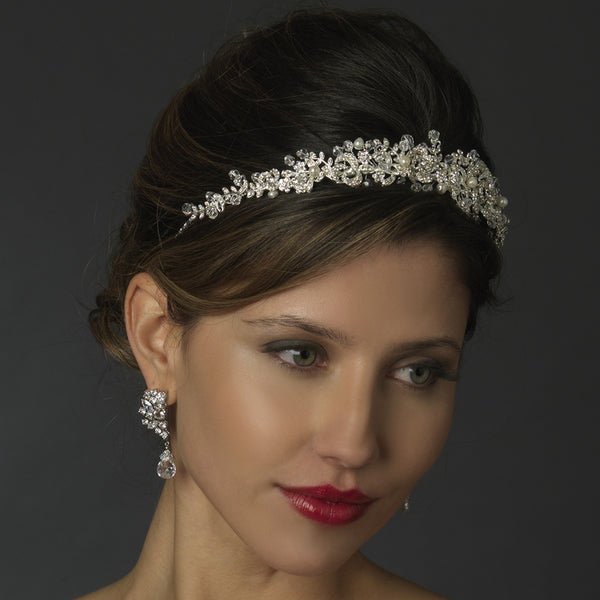 """The Livia"" Silver Freshwater Pearl & Crystal Bead Swirl Headpiece - Sweet Heart Details"