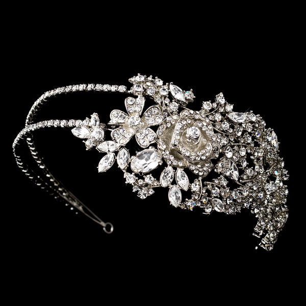 Vintage Floral Side Accent Crystal Headband-Tiaras & Headbands-HP-932-AS-CL-Sweet Heart Details