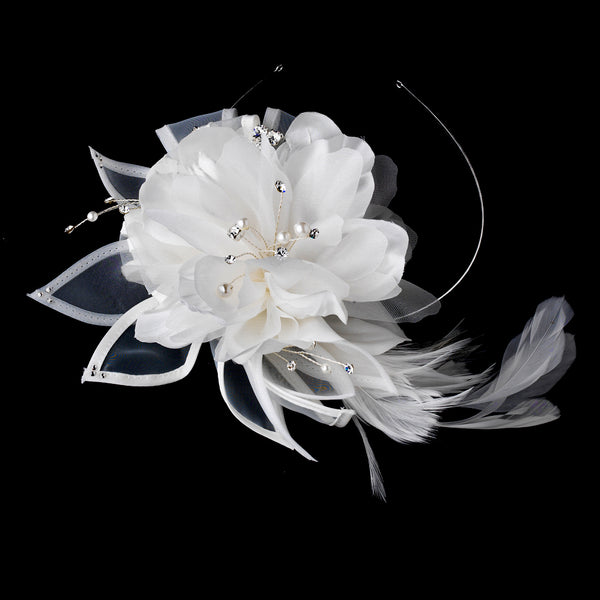 """The Laverne"" Ivory Side Flower Accent Headband-Tiaras & Headbands-HP-941-Sweet Heart Details"