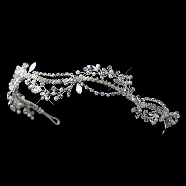 """The Tina"" Silver Woven Headband of Pearls Rhinestones Crystals-Tiaras & Headbands-Wedding Factory-HP-9607-S-DW-Sweet Heart Details"