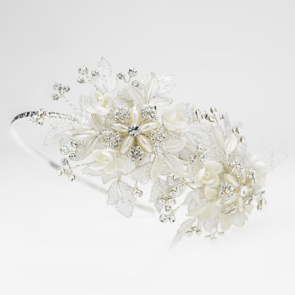 """The Livvy"" Sparkle Flower Accented Side Headband-Tiaras & Headbands-Wedding Factory-HP-9610-S-DW-Sweet Heart Details"