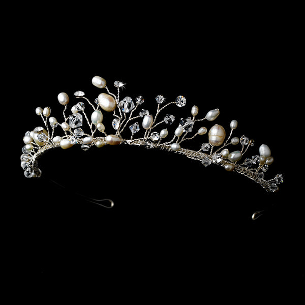 """The Carol"" Crystal Pearl Woodland Tiara - Sweet Heart Details"