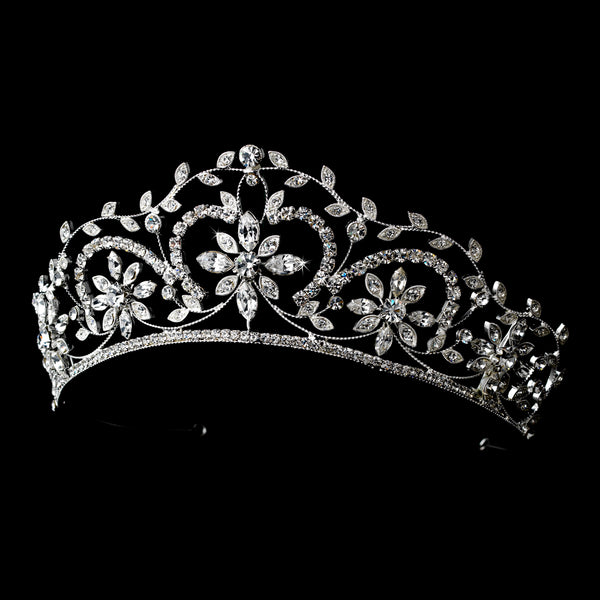 Stunning Silver Crystal Floral Tiara-Tiaras & Headbands-HP-9828-S-CL-Sweet Heart Details