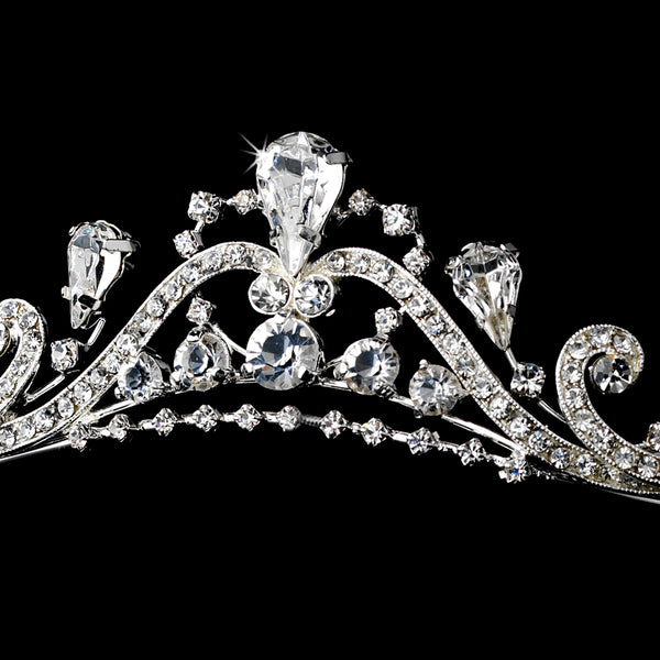 """The Stacy"" Lovely Silver Clear Swirl Rhinestone Tiara-Tiaras & Headbands-Wedding Factory-HP-9845-S-CL-Sweet Heart Details"