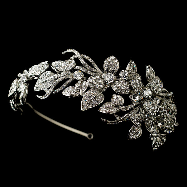 Silver Floral Side Accented Headband Headpiece-Tiaras & Headbands-HP-9875-AS-CL-Sweet Heart Details