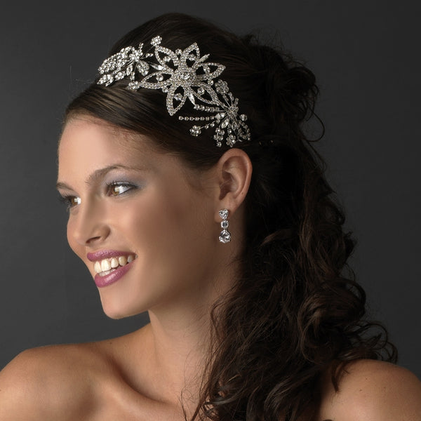 """The Patricia"" Silver Side Accent Headband-Tiaras & Headbands-Wedding Factory-Sweet Heart Details"